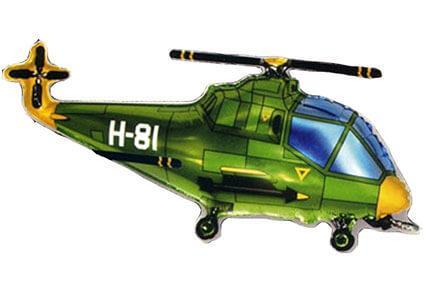 Фигура из фольги «Вертолет зеленый» 96 см