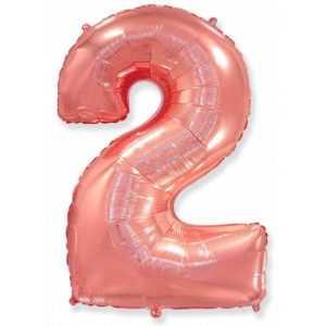 Фольгированный шар «Цифра 2» Розовое Золото