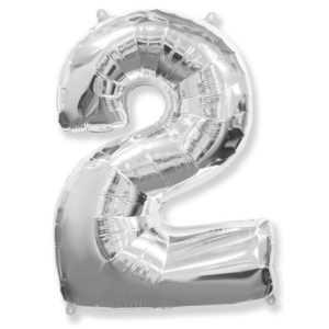 Фольгированный шар «Цифра 2» Серебро