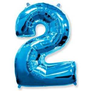 Фольгированный шар «Цифра 2» Синий