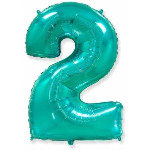 Фольгированный шар «Цифра 2» Тиффани