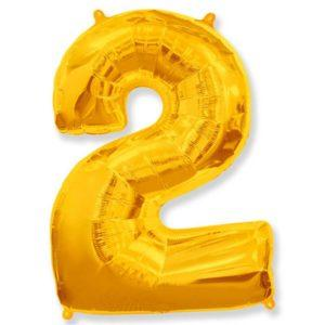 Фольгированный шар «Цифра 2» Золото