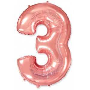 Фольгированный шар «Цифра 3» Розовое Золото
