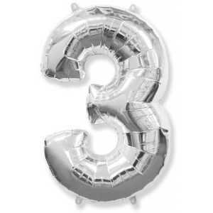 Фольгированный шар «Цифра 3» Серебро