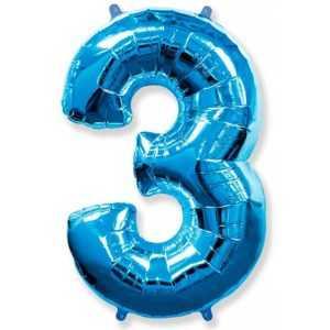 Фольгированный шар «Цифра 3» Синий