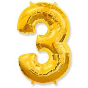 Фольгированный шар «Цифра 3» Золото