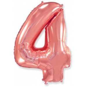 Фольгированный шар «Цифра 4» Розовое Золото