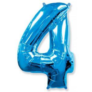 Фольгированный шар «Цифра 4» Синий