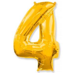 Фольгированный шар «Цифра 4» Золото