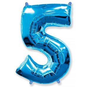 Фольгированный шар «Цифра 5» Синий