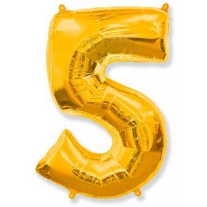Фольгированный шар «Цифра 5» Золото