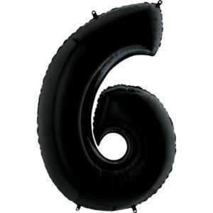 Фольгированный шар «Цифра 6» Черный