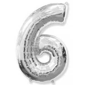 Фольгированный шар «Цифра 6» Серебро
