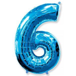 Фольгированный шар «Цифра 6» Синий