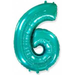 Фольгированный шар «Цифра 6» Тиффани