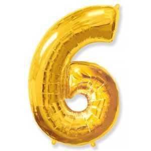 Фольгированный шар «Цифра 6» Золото