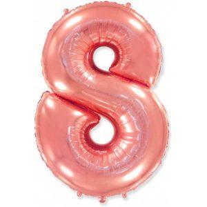 Фольгированный шар «Цифра 8» Розовое Золото