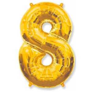 Фольгированный шар «Цифра 8» Золото