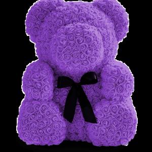 Мишка из роз фиолетовый