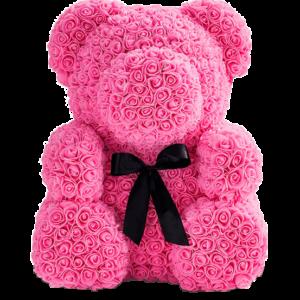 Мишка из роз розовый