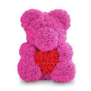 Мишка из роз с сердцем. Розовый