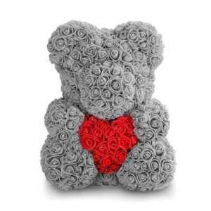 Мишка из роз с сердцем. Серый