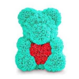 Мишка из роз с сердцем. Тиффани