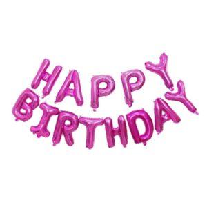 Растяжка надувная «Happy Birthday» розовая