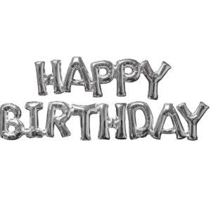 Растяжка надувная «Happy Birthday» серебро