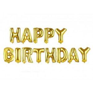 Растяжка надувная «Happy Birthday» золото