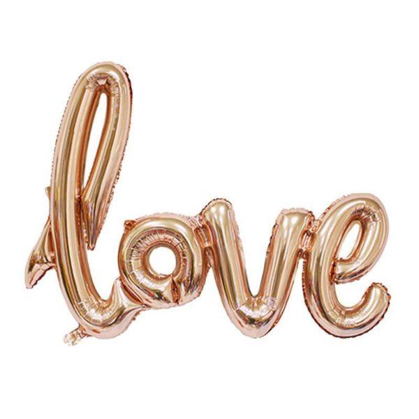 Растяжка надувная «Love» розовое золото