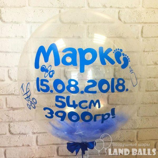 Шар «Bubbles» прозрачный 60 см с любой Вашей надписью и любыми перьями внутри