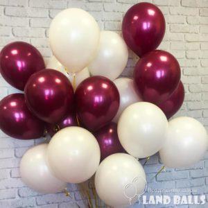 Шары «Белые и Бургундия металлик» 35 см
