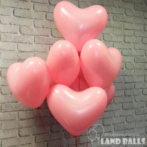 Шары латексные СЕРДЦА Нежно-Розовые 35 см