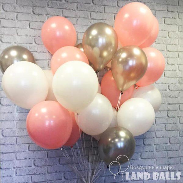 Шары «Нежно-Розовые-Белые-Серебро» 35 см