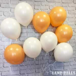 Шары «Персиковые и Белые» 35 см