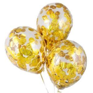 Шары с конфетти «Круглое золото» 35 см