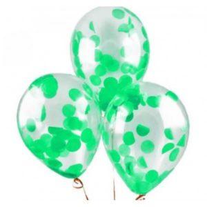 Шары с конфетти «Зеленые» 35 см