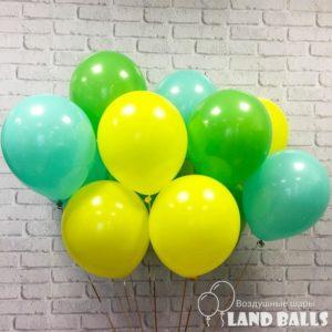 Шары «Зеленые-Тиффани-Желтые» 35 см