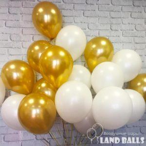 Шары «Золото и Белые» 35 см