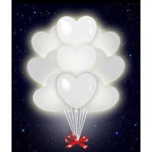 Светящиеся сердца белые 35 см