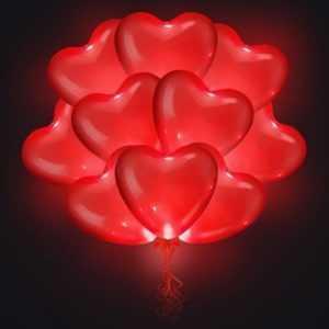 Светящиеся сердца красные 35 см