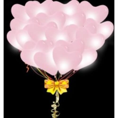 Светящиеся сердца розовые 35 см